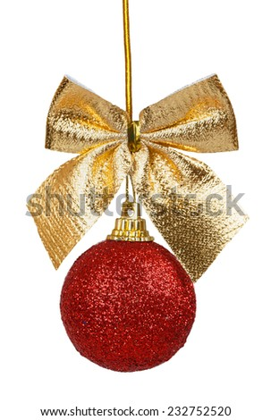 Red Christmas ball with golden bow isolated on a white background - stock photo
