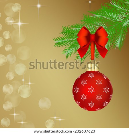 Red Christmas ball with red bow hanging on fir tree branch.