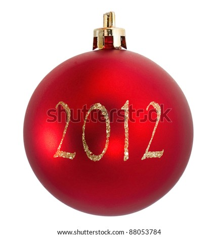 Red christmas ball with text 2012 - stock photo