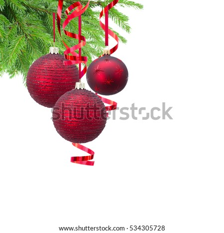 Red christmas balls and evergreen fir tree isolated on white background