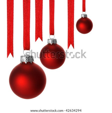 red christmas balls and ribbons