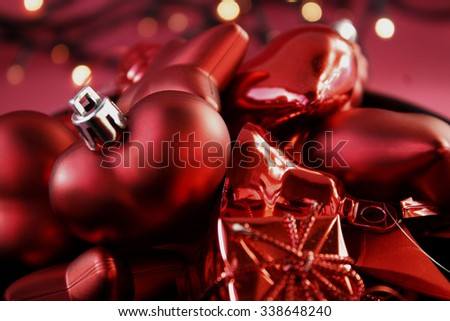 Red Christmas balls close - stock photo
