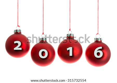 Red Christmas balls hanging at a rope with text 2016 - stock photo