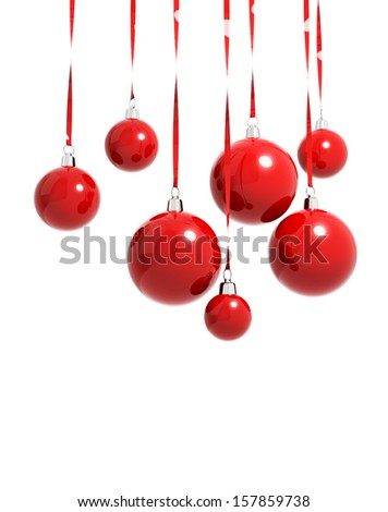 Red Christmas balls hanging on ribbons isolated on white - stock photo