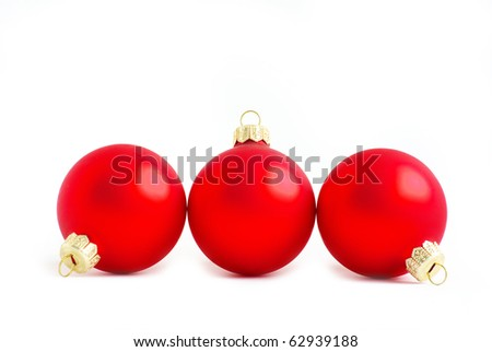 red christmas balls  isolated on a white