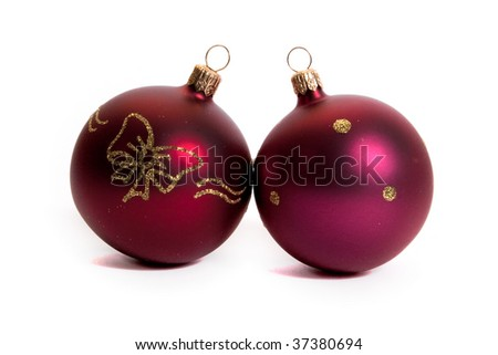red christmas balls isolated on white background
