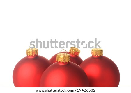 Red christmas balls, isolated on white shot in studio