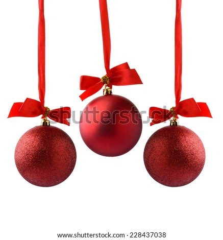 red Christmas balls on a white background - stock photo