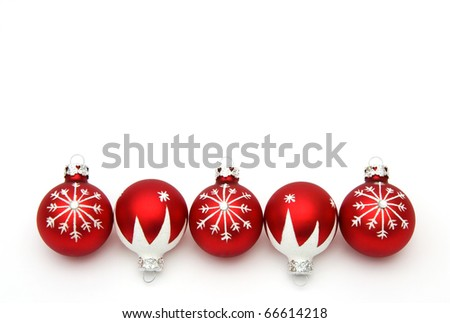 red christmas balls on white - stock photo