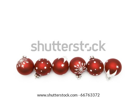 red christmas balls over white background