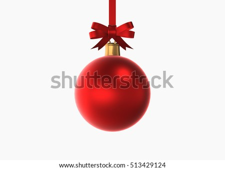 Red Christmas balls with bow isolated on white background. 3d Render