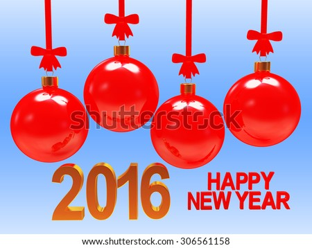 Red Christmas balls with bows and New Year greeting on blue background