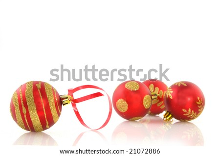Red christmas balls with golden decoration