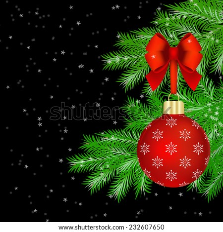 Red Christmas balls with red bow on fir tree branches on black snowy background. - stock photo