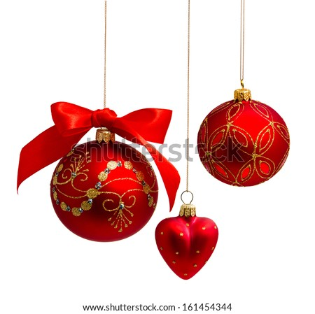 Red christmas balls with ribbon isolated on a white background  - stock photo