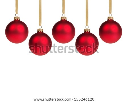 red christmas balls, with white background - stock photo