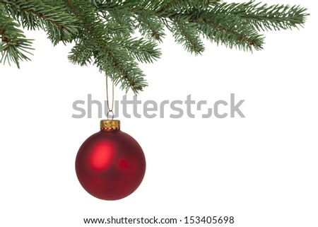 Red Christmas bauble hanging on pine tree for holiday background. With copy space. - stock photo