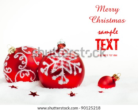 red Christmas bauble isolated on white - stock photo