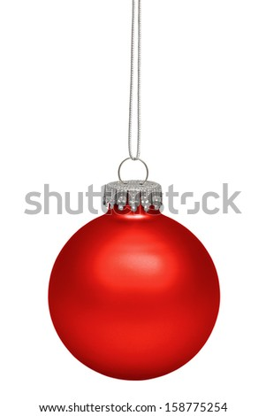 Red christmas bauble isolated on white background