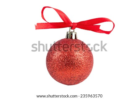 Red christmas bauble with ribbon isolated on white background with clipping path - stock photo