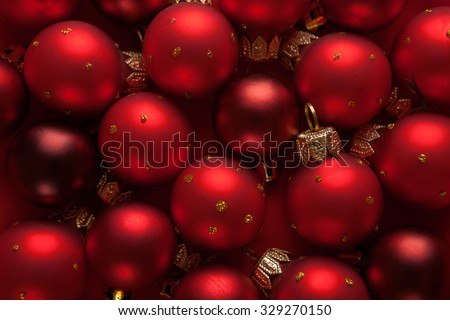 Red Christmas Baubles - stock photo