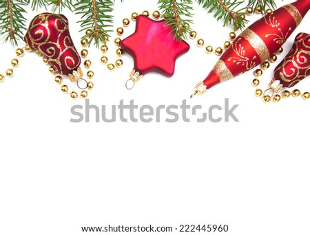 Red Christmas baubles  on a white background - stock photo