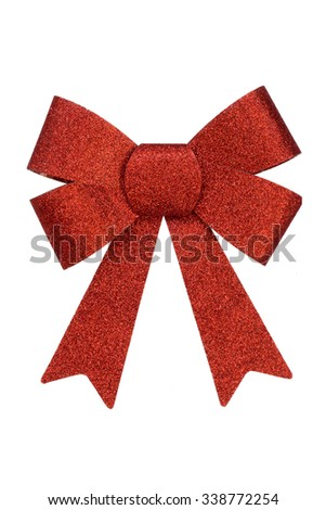 Red christmas bow isolated on white background  - stock photo
