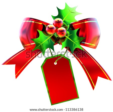 Red Christmas bow with green leaves and label on white background - stock photo
