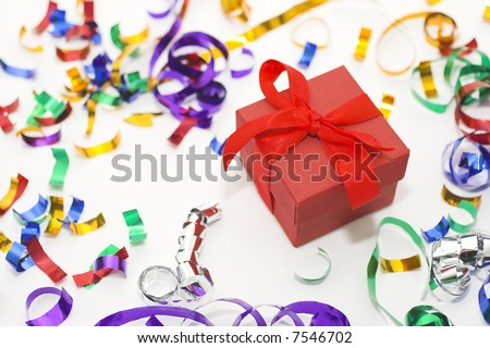 Red Christmas box whit colorful confetti - stock photo