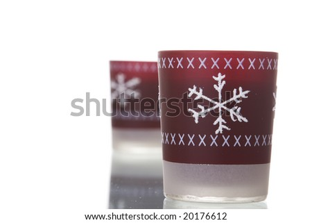 red christmas candles with reflection (selective focus) - stock photo