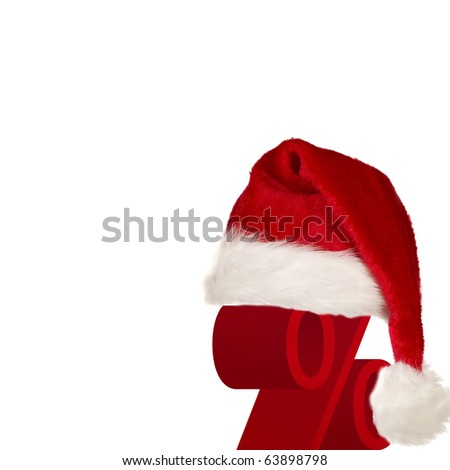 Red christmas cap with white edges on percentage symbol