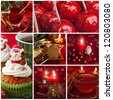 Red christmas collage with sweets and tea - stock photo