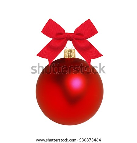 Red Christmas decor ball and bow isolated on white background