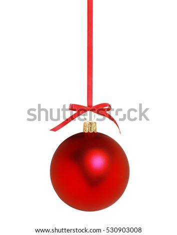 Red Christmas decor ball on ribbon isolated on white background