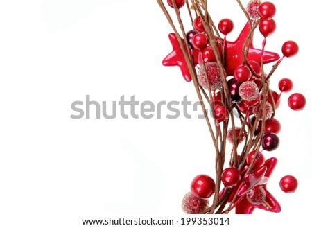 Red christmas decoration, isolated on white background - stock photo