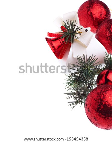 Red Christmas decoration on white background - stock photo