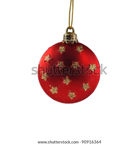Red christmas decorative object  isolated on white.