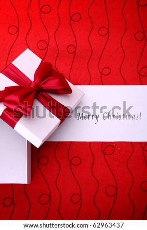 Red christmas gift - stock photo