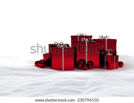 red christmas gifts in the snow with copy space