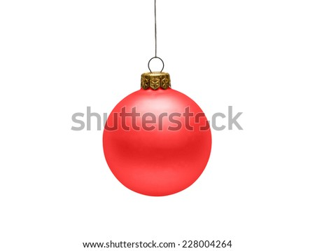Red Christmas hanging ball isolated on white background - stock photo