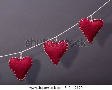 red christmas hearts  - stock photo