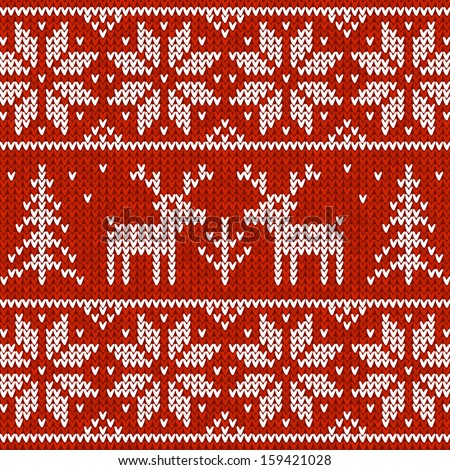 Red Christmas knit with deers - stock photo