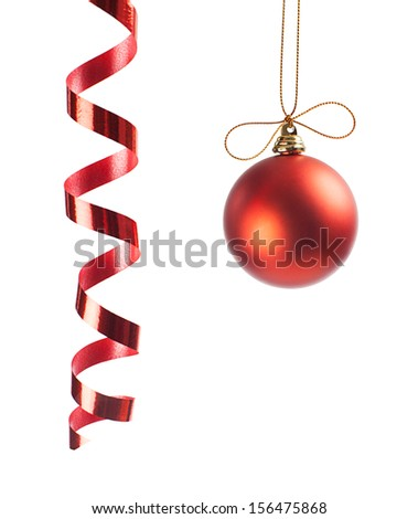red christmas ornament and ribbon isolated on white background - stock photo