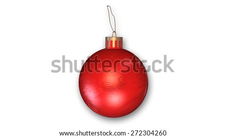 Red Christmas Ornament isolated on white background - stock photo