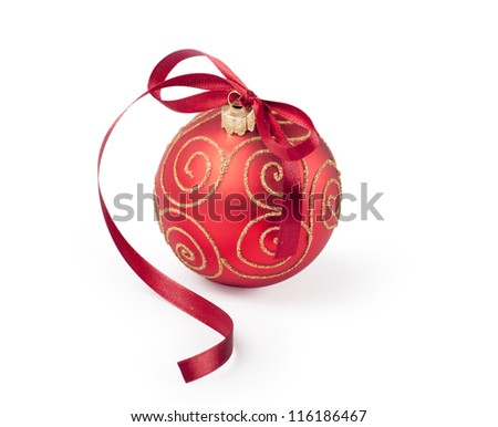 Red christmas ornament with bow