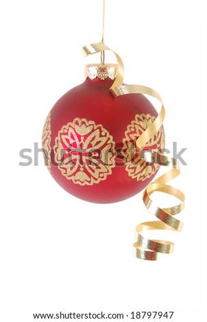 Red Christmas ornament with gold ribbon isolated on white