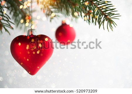 Red Christmas Ornaments Heart Ball On Stock Photo ...
