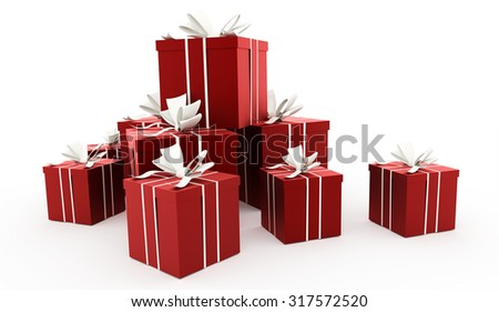 Red christmas present with ribbon rendered - stock photo