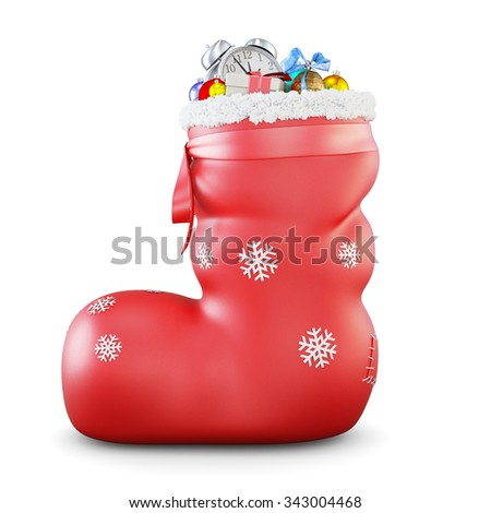 Red christmas sock with gifts isolated on white background. 3d rendering. - stock photo