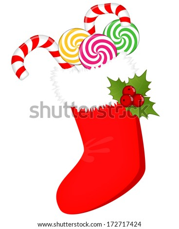 Red christmas sock with presents. Raster version, vector file also included  - stock photo